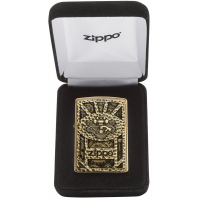 Zippo Gear Design Pocket Lighter Brushed Brass 29103