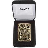 Zippo Gear Design Pocket Lighter Brushed Brass 29103